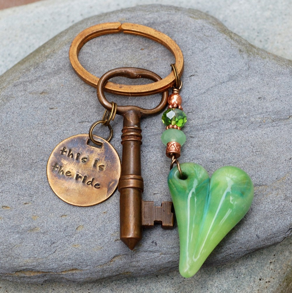 Skeleton Key Keychain, Glass Heart, Boro Borosilicate Lampwork, Beaded, Steampunk, Green - This is the Ride steampunk buy now online