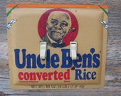 Black Americana Southern Decor Light Switch Cover Made From An Uncle Ben's Rice Tin Canister Double Switchplate SP-0094