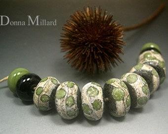 HANDMADE LAMPWORK GLASS Bead Set Donna Millard rustic relic assemblage black olive green moss