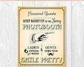 PRINTABLE -Photobooth Sign -Smile Pretty - Vintage Typography - Printable