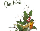Merry Christmas, Artwork of English Robin, Holly, Berries, Twigs, Pine Cones, You Print, Instant Download