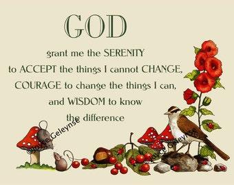 Serenity Prayer,  Nature Art, Bird, Flowers, Toadstools, Mice, Ladybugs: Instant Download, You Print