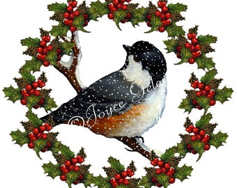 Christmas Clip Art, Freehand Art with Chickadee, Holly, Berries, Snow, You Print, Instant Download