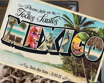 Vintage Large Letter Postcard Save the Date (Mexico) - Design Fee