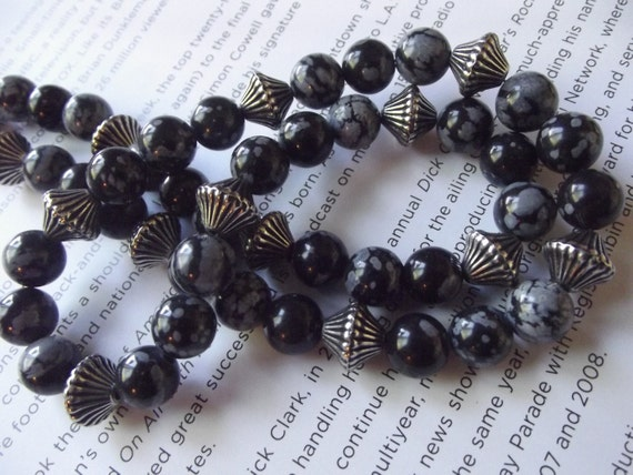 Natural Stone and Black Obsidian Necklace - To Benefit Heart Strings