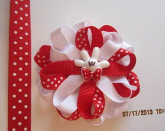 Adorable Red and White Minnie Mouse  Inspired Hair Bows with clips
