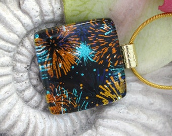 Fireworks Necklace - Dichroic Fused Glass Jewelry - Fused Dichroic Glass Pendant  - Dichroic Pendant Dichroic Necklace 112214p102