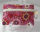 Quilted Coin Purse - Floral Magenta Gold - Change Purse with Keychain - Quilted Earbud Case - Small Quilted Zip Pouch