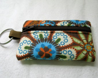 Brown Floral Coin Purse - Padded Change Purse - Coin Purse with Key Chain - Padded Earbud Case