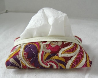 Paisley Quilted Tissue Holder Pocket Size Magenta Gold