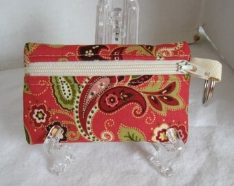 Coin Purse Paisley - Change Purse - Coral Small Zippered Pouch - Coral Paisley - Keychain Coin Purse