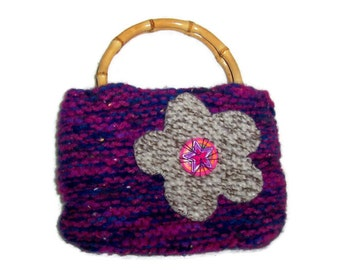 Purple and Navy Blue Embellished, Handknitted. Felted Wool purse