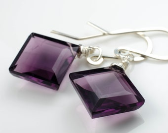 Faceted Purple Quartz with Sterling Silver Regal Earrings