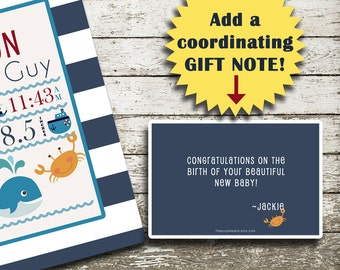 Add On GIFT NOTE - Made to coordinate with your print!