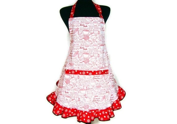 Chicken Soup Recipe on Retro Style Apron with Ruffles, Red and White