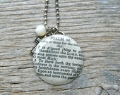 SALE - It is a good thing to give thanks unto the Lord - Psalm 92 - Altered Vintage Glass Watch Crystal Pendant Necklace - Recycled Upcycled
