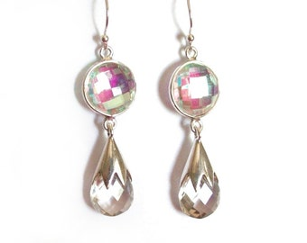 Sale: White Rainbow Mystic Topaz, Quartz, and Sterling Silver Earrings