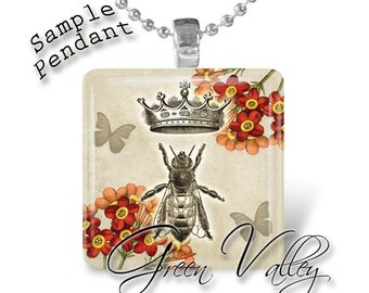 INSTANT DOWNLOAD Digital Images Sheet Save the Bees Beekeeping Queen Bee Antique 1 Inch 7/8 Inch Squares for Pendants Crafts (GS169,GSS169)