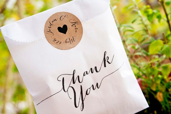Favor Bags - Wedding Candy Favor  - Simple Thank You - Wedding, Birthday, Anniversary Favor Bags-  25 White lined Favor Bags
