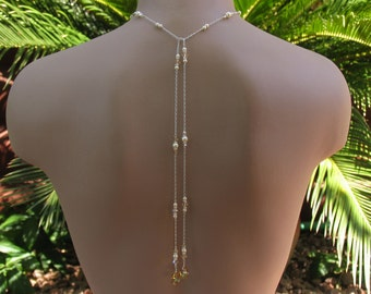 Bridal Lariat Necklace, Swarovski Cream Pearls, Crystal Golden Shadow Crystals and Teardrops on Silver Chain w/ Long Backdrops, Choker Style