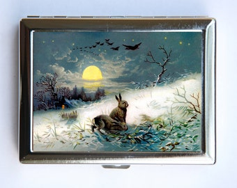 Rabbits Moon Cigarette Case Wallet Business Card Holder Owls fairytale