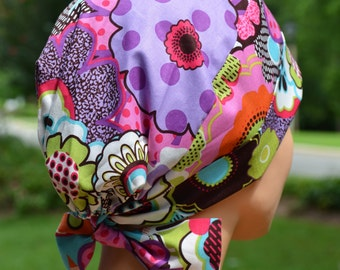 Surgical Scrub Hat or Chemo Cap- The Mini with Fabric Ties- Flower Happy