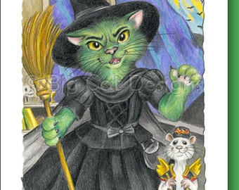 CAT CARD. Wicked. Wicked Witch Cat. Wizard of Oz. Cat Greeting Card.  5X7 Framable Card.
