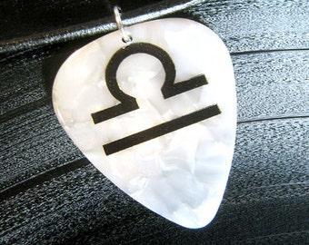 Libra sign guitar pick necklace, white & black, hot foil stamped