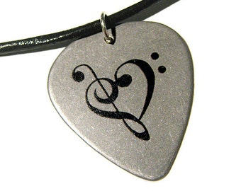 Steel Music Heart Guitar Pick Necklace, leather cord