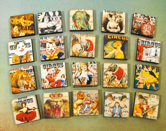 Vintage Circus Wood Squares - Art Parts for Crafty People