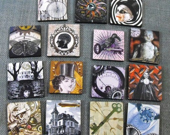 Steampunk Tiles - Wooden Laser Cut Squares for Craft and Jewelry Projects