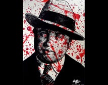 "Print 11x17"" - Al Capone - Gangster True Crime Guns Killing Massacre Thug Mobster Mobs Blood Chicago Pop Art Vintage Dark Art Horror"