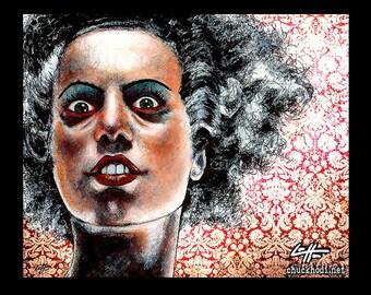 "Print 8x10"" - The Bride - Portrait Frankenstein Dracula Classic Monster Horror Halloween Pop Gothic Cute Vintage Dark Art Fantasy Lowbrow"