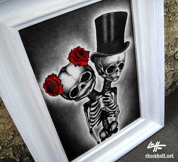 Couple Original Drawing Skeleton Dark Art Horror By Chuckhodi