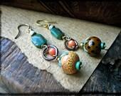 Lampwork fruit earrings, Artisan soldered copper rings Turquoise Coral Indonesian glass - Fruit Bowl