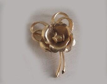 Vintage Brooch, Rose, Goldtone, Frosted, Frosted Metal, 1960's