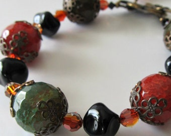 Agate Gemstone  Bracelet Swarovski crystals Black Rust red Olive green Antique brass Beaded bracelet Beaded jewelry