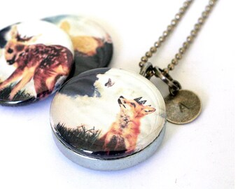 Fox Prince Locket Necklace - Art Locket - Stamped Initial - Magnetic Necklace by Polarity, Melissa Nucera Collection