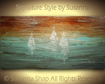 Sail Boats Seascape ORIGINAL Painting Contemporary Art Textured Modern Brown Blue Oil Painting by Susanna Ready to Hang 48x24