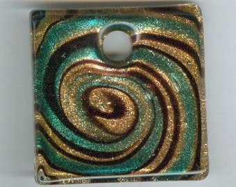 40mm Gold Green and Black Swirl Lampwork Focal Square Bead Glass Pendant