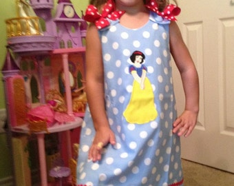 Princess Snow White Applique A-line Dress starting at size 3 mo going up to 6X