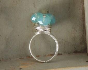 Swarovski Crystal, Sterling Silver Adjustable Ring - Pacific Opal