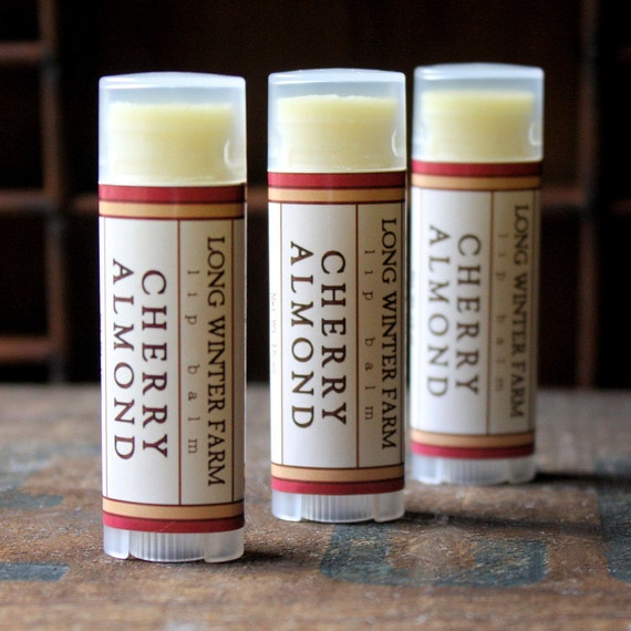 Cherry Almond Lip Balm - One Tube Beeswax Shea Cocoa Butter Jojoba