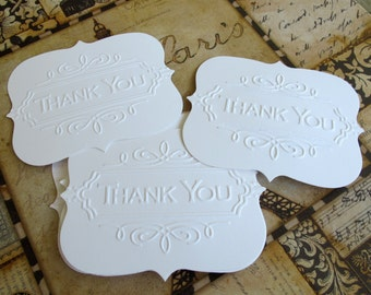 10 Embossed Flat Bracket Scallops Thank You Cards Tags Notecards for Wedding Bridal Shower Baby Shower