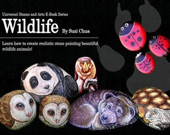 Rockpainting Ebook on how to paint wildlife with step by step instructions and photographs