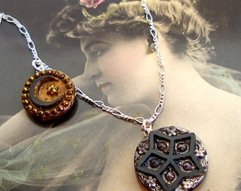 Celestial BUTTON necklace, Victorian Moon & stars, on sterling silver, antique button jewellery.