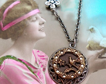 Little Bird Antique BUTTON necklace, 1800s Victorian BIRD on silver chain. Antique button jewelry, jewellery.