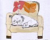 Pug Fabric - Sweet Dreams - Napping Pug - 1 Yard