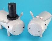 Bride and Groom Hippos for your Wedding Cake