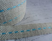 Natural Burlap woven Ribbon with Skye Blue Running Stitch 5/8 wide